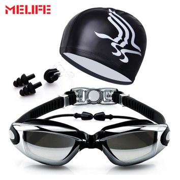 New Professional Anti-Fog Swimming Goggles & Cap For Men Women UV Adjustable Plating  Waterproof Silicone Glasses Nose Cover