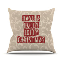 "Sylvia Cook ""Have A Holly Jolly Christmas"" Holiday Outdoor Throw Pillow"