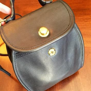 Vintage Navy Blue Authentic Rare Coach Derby Crossbody Bag with Brass Button Closure,