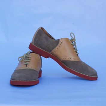 Vintage 80's Geoffrey Beene Bag Women Suede Oxford Shoes. US Size 9.5 UK-7.5 Eur-40