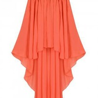 Orange Asymmetric Hem Skirt