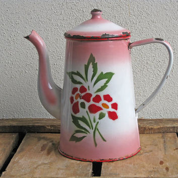 pink enamel coffee pot  with hand painted flowers, French country home style