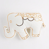 White Sequined Elephant Pillow