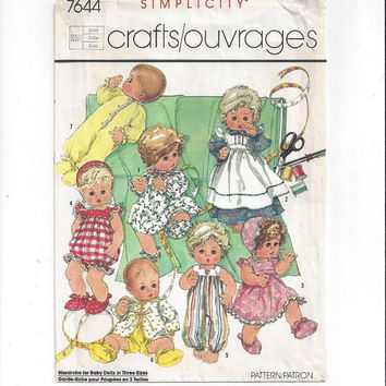 Simplicity 7644 Pattern for Doll Wardrobe for Small 13-14 In. Doll, Dress, Panties, Bootees, Hat, Pajama, Romper, From 1986, Vintage Pattern