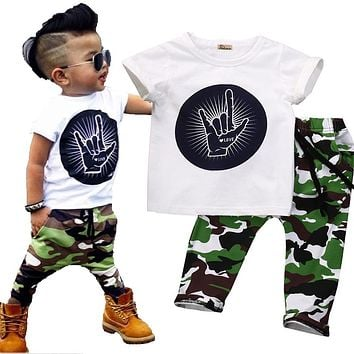 Super Cool Infant Toddler Baby Kids Boys Outfits Babies Boy Rock Gesture Tops T-shirt +Camouflage Pants Outfit Set Clothes