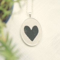 Love Necklace * Heart Jewelry * Minimalist Jewelry * Valentine's Day * I Love you * Bridesmaids * Wedding * Gift * Black and white