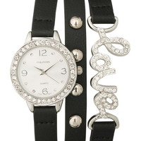 Faux Leather Embellished Wrap Watch - Black