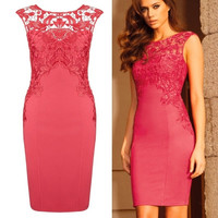 Fashion Hollow Out Lace All-match Slim Bodycon Bandage Dress Evening Party Clubwear = 1905684804