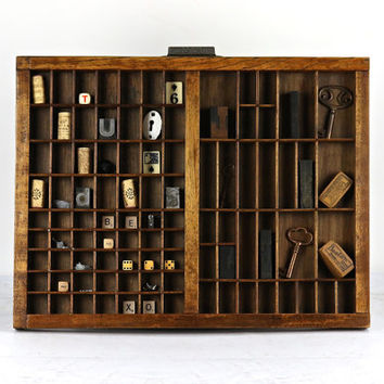 Vintage Printers Drawer, Printers Tray, Letterpress Drawer, Shadow Box, Industrial Decor