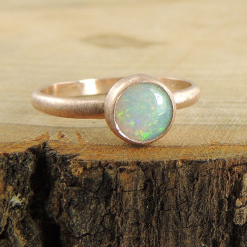 Opal Engagement Ring 14k Rose Gold