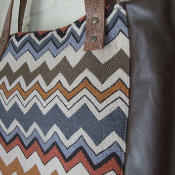 Large tote, market tote bag, olive leather and chevron woven stripes, soft tote