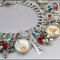 Peter Rabbit Charm Bracelet, Silver Charm Bracelet, Peter Rabbit Jewelry, Beatrix Potter Charm Bracelet