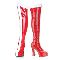 Red White Striped Thigh High Wonder Woman Boots