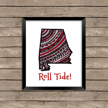Alabama Team Print, Alabama Art Print, Alabama Art, Roll Tide, Alabama