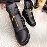 Genuine Leather Skull Hip Hop Casual Shoes