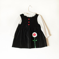 Vintage Baby Dress | Floral Applique Black Velvet Dress Girls Dress Toddler Dress Baby Girl Retro Baby Clothes Hipster Kids Children Dress