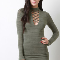 Marled Knit Corset Lace Up Mock Neck Dress