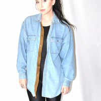 pale blue denim shirt 80s vintage CHAMBRAY + leather soft light wash jean button up oxford shirt