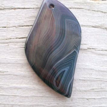 Freeform Onyx Agate Purple banded pendant bead ~ New Unique Shape, DIY pendant beads, pendant stones, polished and drilled for DIY jewelry