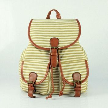 LMFON1O Day First Cute Sweet Striped Travelling Bag College School Bag Canvas Backpack Daypack