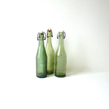 antique french green bottle, green sode bottle with original porcelain top, spring window dressing, french home decor