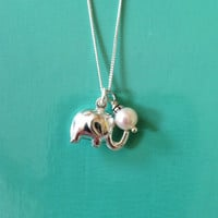 Sterling Silver Lucky Elephant Necklace with Pearl Acccent, Good Luck Charm, Bridesmaid gift