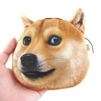 Shiba Inu Doge Dog Face Animal Meme Coin Purse Make Up Bag