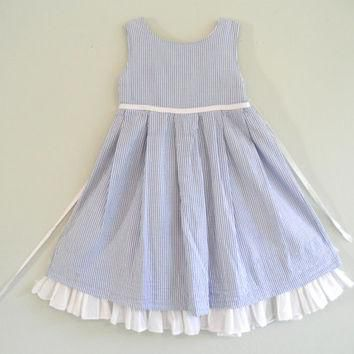 Vintage Girls Dress Blue and White Ralph Lauren Dresses Childrens Gently Used Clothing