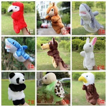 Animal Hand Puppet Plush Toys Peluche Dolls Wolf Eagle Panda Rabbit Doll Kids Glove Puppets For Children Gift