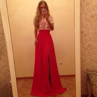 Women's Short Sleeve Lace Cover Slim Fitting Long Dress Gown