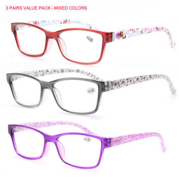 SOOLALA 3 pcs Mix Reading Glasses Patterned Ladies' and Women's High Quality with Pouch Glasses Reader Diopter +1 to +4