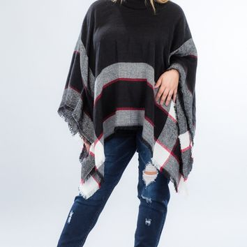 Warm & Cozy Poncho - Black