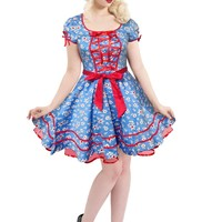 Voodoo Vixen Lolita Flower Daisy Print Front Red Ribbon Lace up Blue Mini Dress