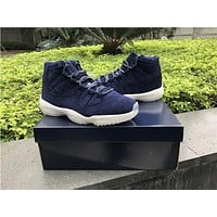 Air Jordan Retro 11 PRM Jeter Men Basketball Shoes Blue Navy White Suede Re2pect XI 11S Athletic High Quality Outdoor Traniners Sports Sneakers
