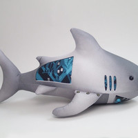 Cyberpunk futuristic robot stuffed animal shark