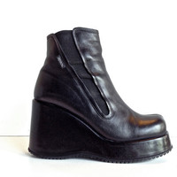 90's Destroy Platform Wedge Black Leather Ankle Boots // 9