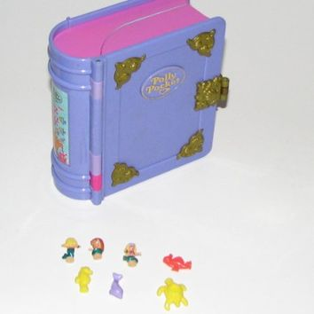 1995 Polly Pocket Glitter Lavender Enchanted Story Book Compact Sparkling Mermaid Sea (Retired)