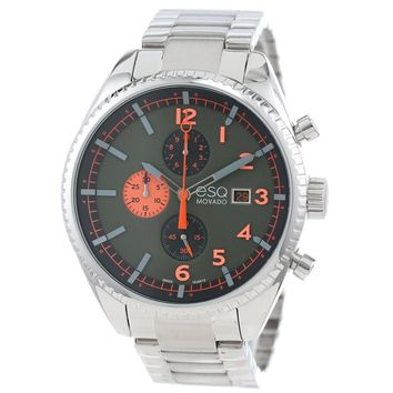 ESQ BY MOVADO MEN'S CATALYST STAINLESS STEEL OLIVE GREEN/ ORANGE DIAL WATCH 07301447