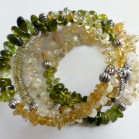 Citrine bracelet, assorted gemstones memory wire bracelet, Bee silver charm memory wire cuff, UK shop