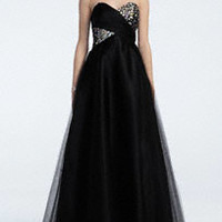 Strapless Cross Over Embellished Bust Ball Gown
