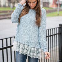 Soft Romance Sweater, Ice Blue