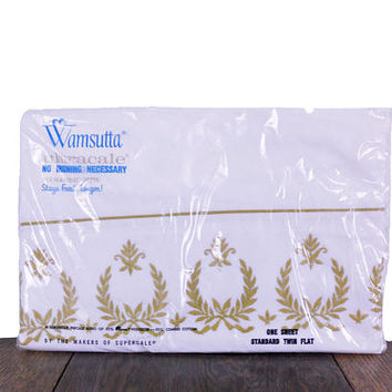 Vintage Bed Sheet 1970s Twin Standard Flat Sheet White with Gold Trim & Design by Wamsutta Cotton Poly Blend - Made in USA - New Old Stock