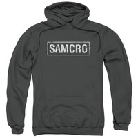 SONS OF ANARCHY/SAMCRO-ADULT PULL-OVER HOODIE-CHARCOAL