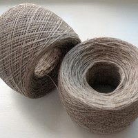 Linen Yarn natural gray 200 gr (7 oz ), skein / 2 ply, each skein contains approximately 900-1200 yds