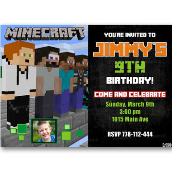 MinePlayCraft Chalkboard Kids Birthday Invitation Party Design
