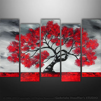 CUSTOM PAINTING Abstract Modern Landscape Tree Asian Art by Gabriela 50x30black white red LARGE