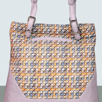 Large Eco Friendly Fabric And Leather Handbag - MIAETMOI Tilly Shopper - Ribbon Weave