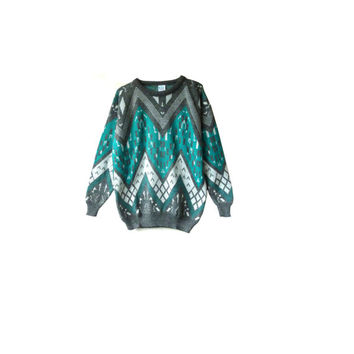 vintage 80s green zig zag jumper .  space dyed grey white . festival sweater . made in england . hipster . geometric