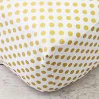 Gold Dot Sparkle Baby Bedding | Gold and White Crib Sheets