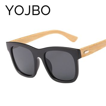 YOJBO Vintage Wood Sunglasses Women Men Bamboo 2018 Mirror Ladies Glasses Driving Sport Uv400 Sun